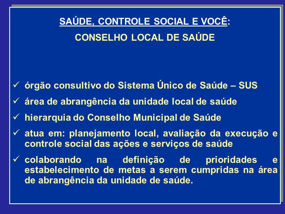 SAÚDE, CONTROLE SOCIAL E VOCÊ: CONSELHO LOCAL DE SAÚDE órgão consultivo do Sistema Único de Saúde – SUS área de abrangência da unidade local de saúde