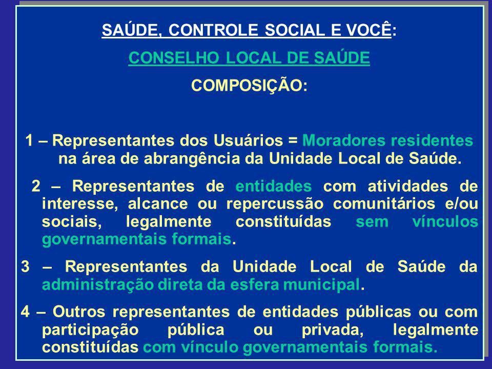SAÚDE, CONTROLE SOCIAL E VOCÊ: CONSELHO LOCAL DE SAÚDE COMPOSIÇÃO: 1 – Representantes dos Usuários = Moradores residentes na área de abrangência da Un