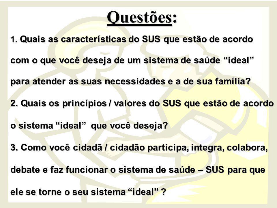 Questões: 1. Quais as características do SUS que estão de acordo com o que você deseja de um sistema de saúde ideal para atender as suas necessidades