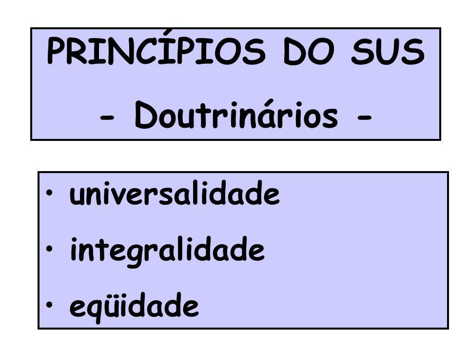 PRINCÍPIOS DO SUS - Doutrinários - universalidade integralidade eqüidade