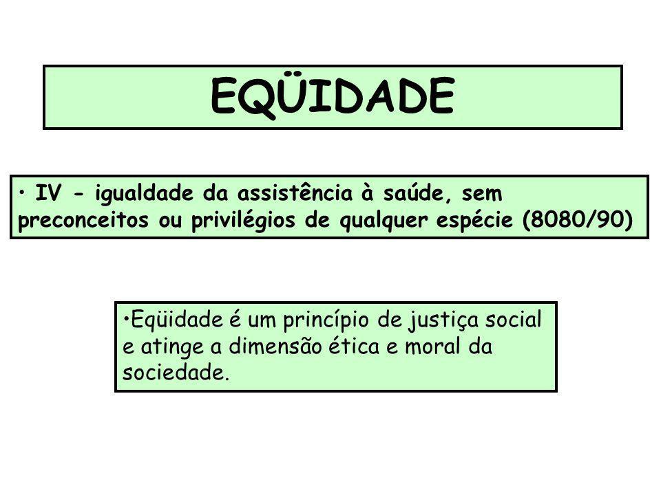 EQÜIDADE IV - igualdade da assistência à saúde, sem preconceitos ou privilégios de qualquer espécie (8080/90) Eqüidade é um princípio de justiça socia