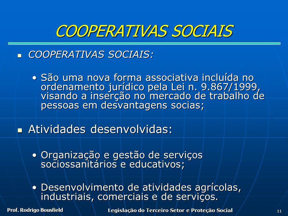Prof. Rodrigo Bousfield Legislação do Terceiro Setor e Proteção Social 11 COOPERATIVAS SOCIAIS COOPERATIVAS SOCIAIS: COOPERATIVAS SOCIAIS: São uma nov