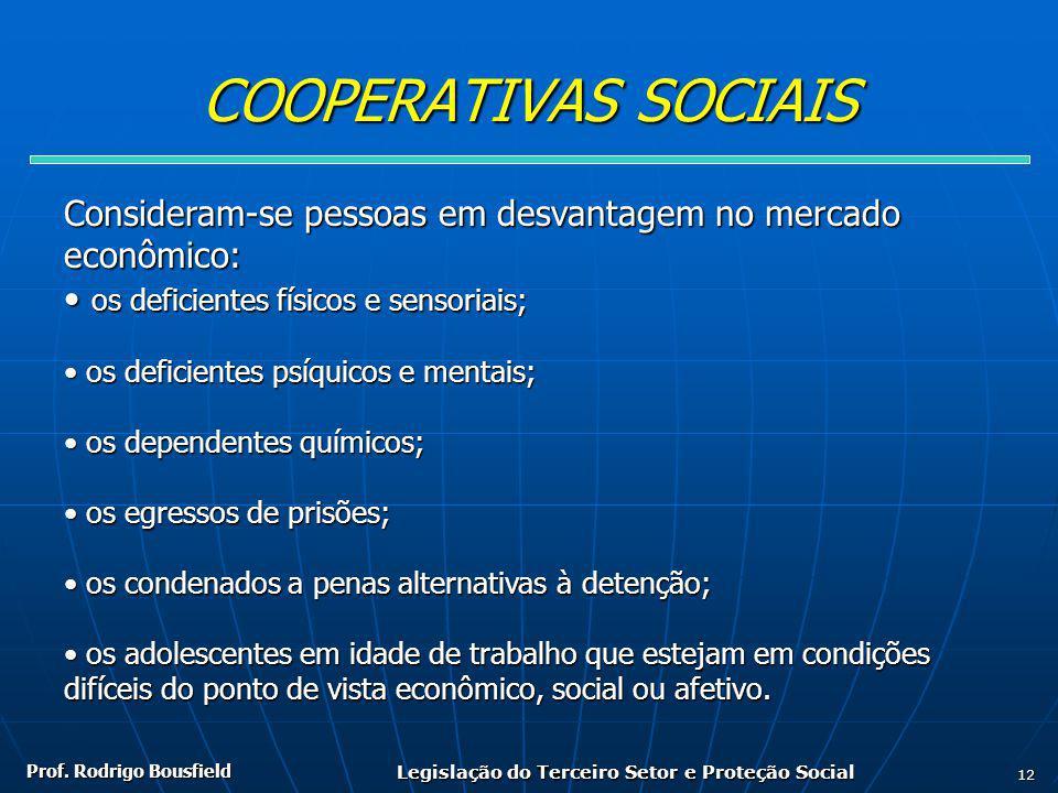 Prof. Rodrigo Bousfield Legislação do Terceiro Setor e Proteção Social 12 COOPERATIVAS SOCIAIS Consideram-se pessoas em desvantagem no mercado econômi