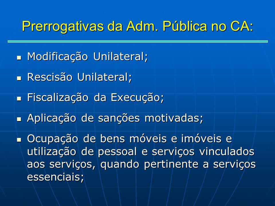 Prerrogativas da Adm. Pública no CA: Modificação Unilateral; Modificação Unilateral; Rescisão Unilateral; Rescisão Unilateral; Fiscalização da Execuçã