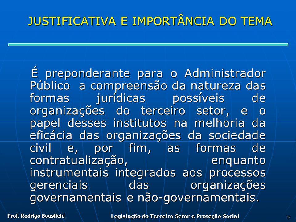 Prof. Rodrigo Bousfield Legislação do Terceiro Setor e Proteção Social 3 JUSTIFICATIVA E IMPORTÂNCIA DO TEMA JUSTIFICATIVA E IMPORTÂNCIA DO TEMA É pre