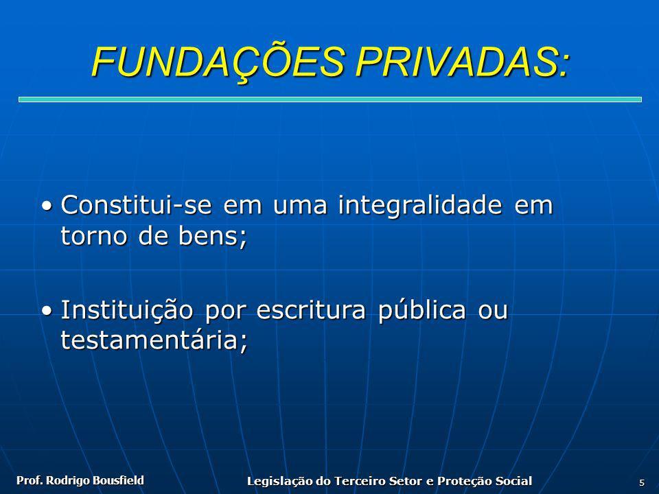 Prof. Rodrigo Bousfield Legislação do Terceiro Setor e Proteção Social 5 FUNDAÇÕES PRIVADAS: Constitui-se em uma integralidade em torno de bens;Consti