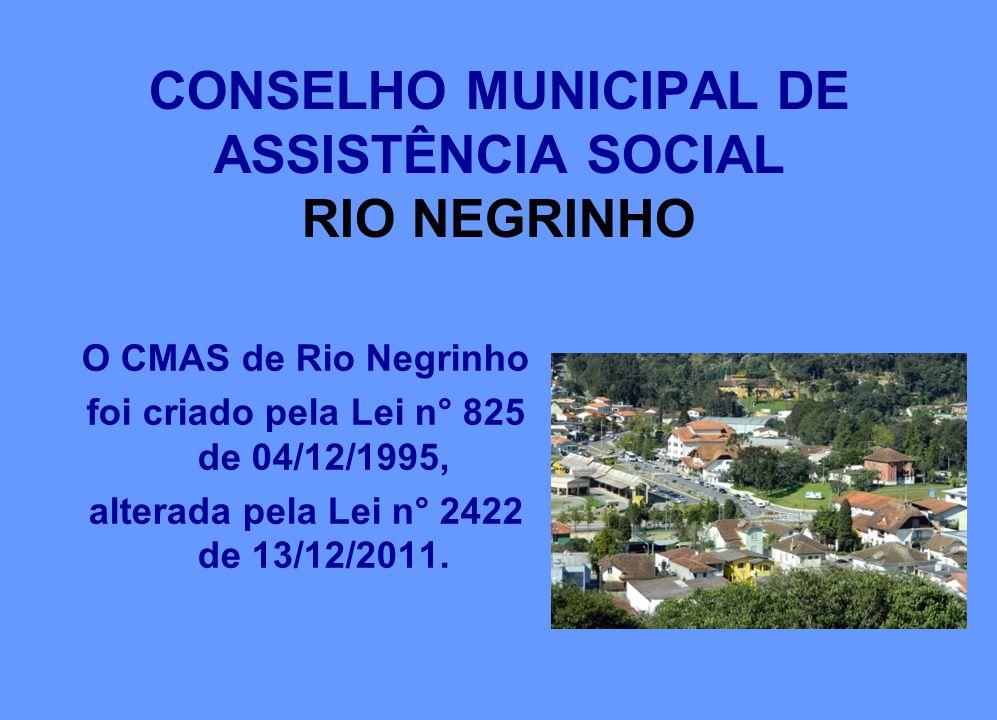 CONSELHO MUNICIPAL DE ASSISTÊNCIA SOCIAL RIO NEGRINHO O CMAS de Rio Negrinho foi criado pela Lei n° 825 de 04/12/1995, alterada pela Lei n° 2422 de 13/12/2011.
