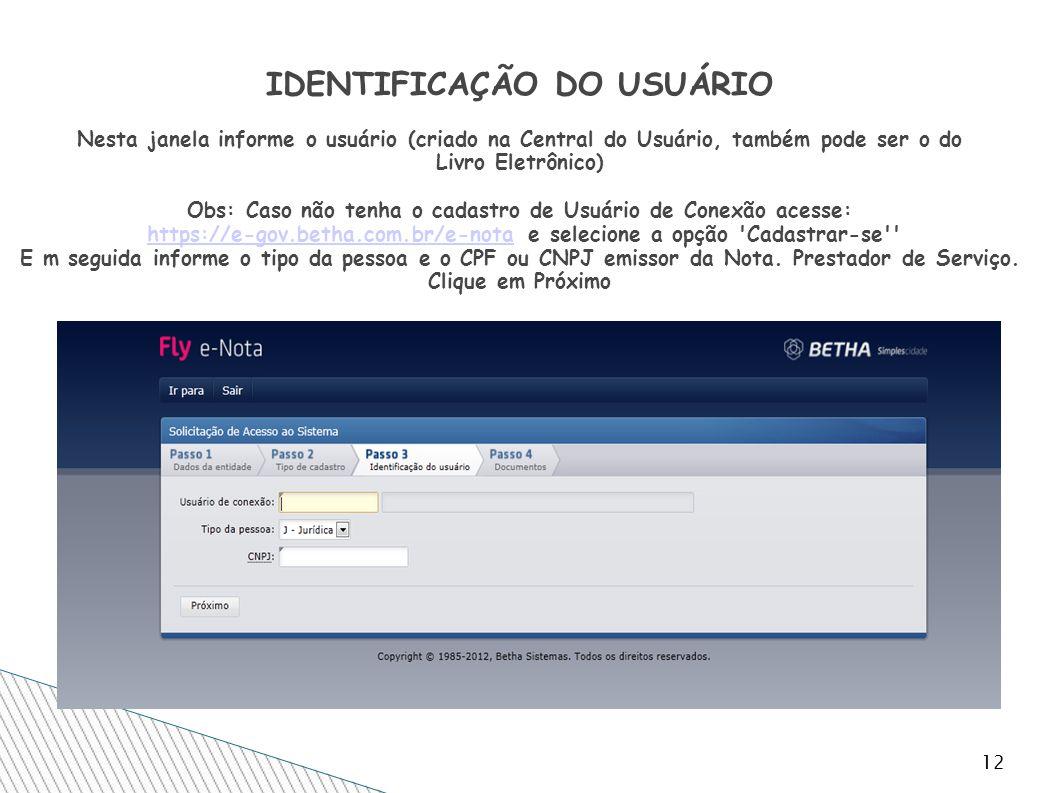 12 IDENTIFICAÇÃO DO USUÁRIO Nesta janela informe o usuário (criado na Central do Usuário, também pode ser o do Livro Eletrônico) Obs: Caso não tenha o