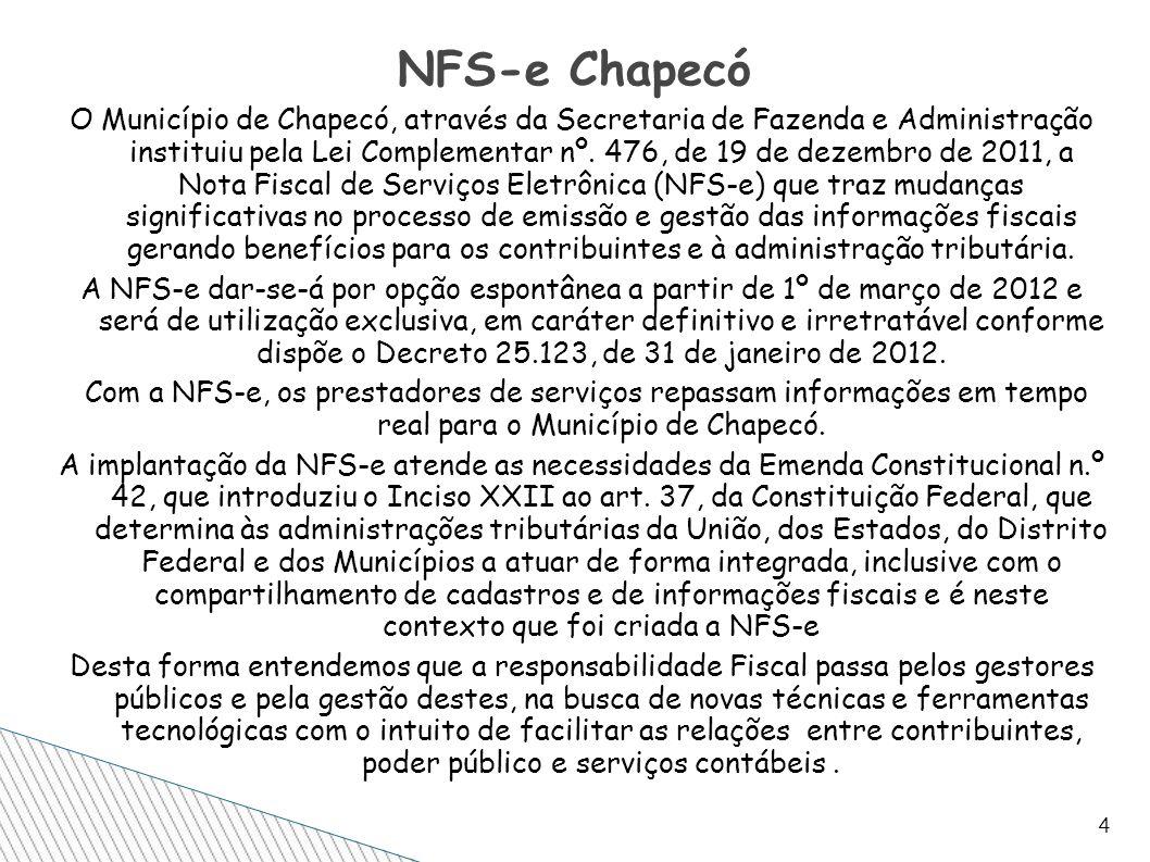 O Município de Chapecó, através da Secretaria de Fazenda e Administração instituiu pela Lei Complementar nº. 476, de 19 de dezembro de 2011, a Nota Fi