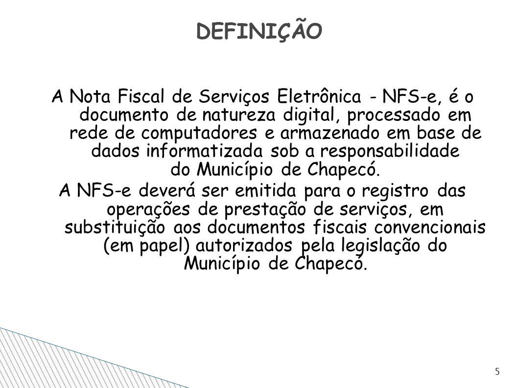 A Nota Fiscal de Serviços Eletrônica - NFS-e, é o documento de natureza digital, processado em rede de computadores e armazenado em base de dados info