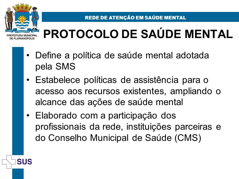 PROTOCOLO DE SAÚDE MENTAL REDE DE ATENÇÃO EM SAÚDE MENTAL Define a política de saúde mental adotada pela SMS Estabelece políticas de assistência para