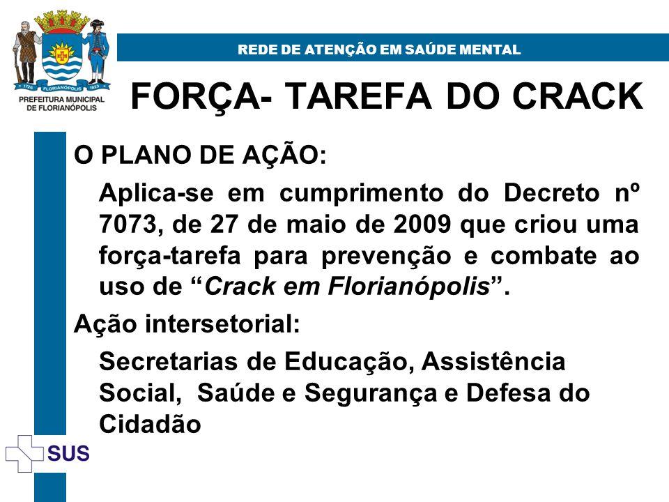 FORÇA- TAREFA DO CRACK REDE DE ATENÇÃO EM SAÚDE MENTAL O PLANO DE AÇÃO: Aplica-se em cumprimento do Decreto nº 7073, de 27 de maio de 2009 que criou uma força-tarefa para prevenção e combate ao uso de Crack em Florianópolis.