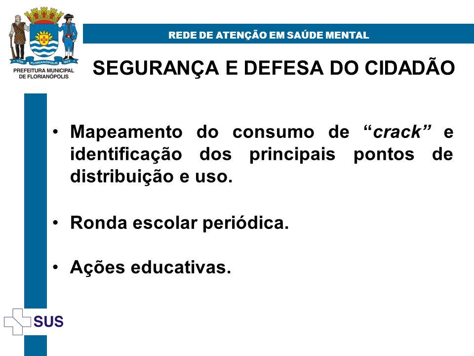 SEGURANÇA E DEFESA DO CIDADÃO REDE DE ATENÇÃO EM SAÚDE MENTAL Mapeamento do consumo de crack e identificação dos principais pontos de distribuição e uso.