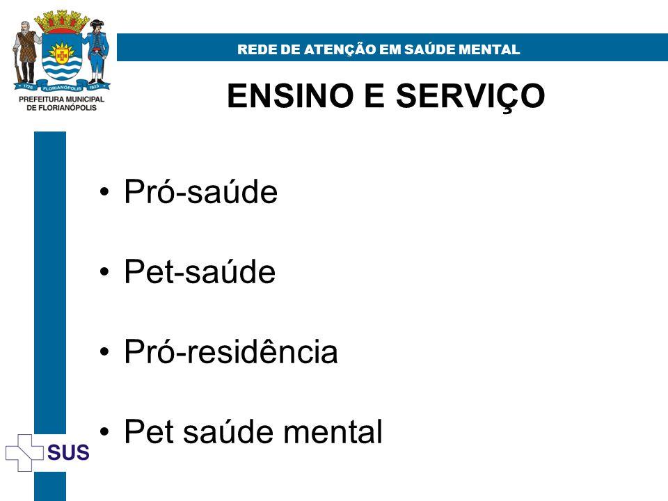 ENSINO E SERVIÇO REDE DE ATENÇÃO EM SAÚDE MENTAL Pró-saúde Pet-saúde Pró-residência Pet saúde mental