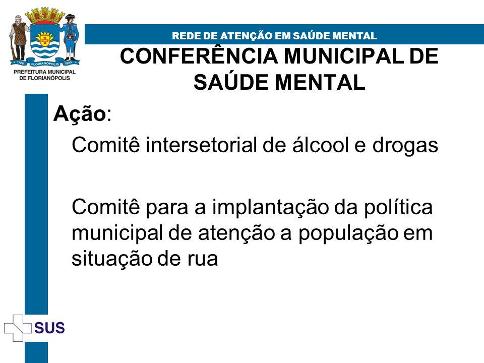 CONFERÊNCIA MUNICIPAL DE SAÚDE MENTAL REDE DE ATENÇÃO EM SAÚDE MENTAL Ação: Comitê intersetorial de álcool e drogas Comitê para a implantação da polít