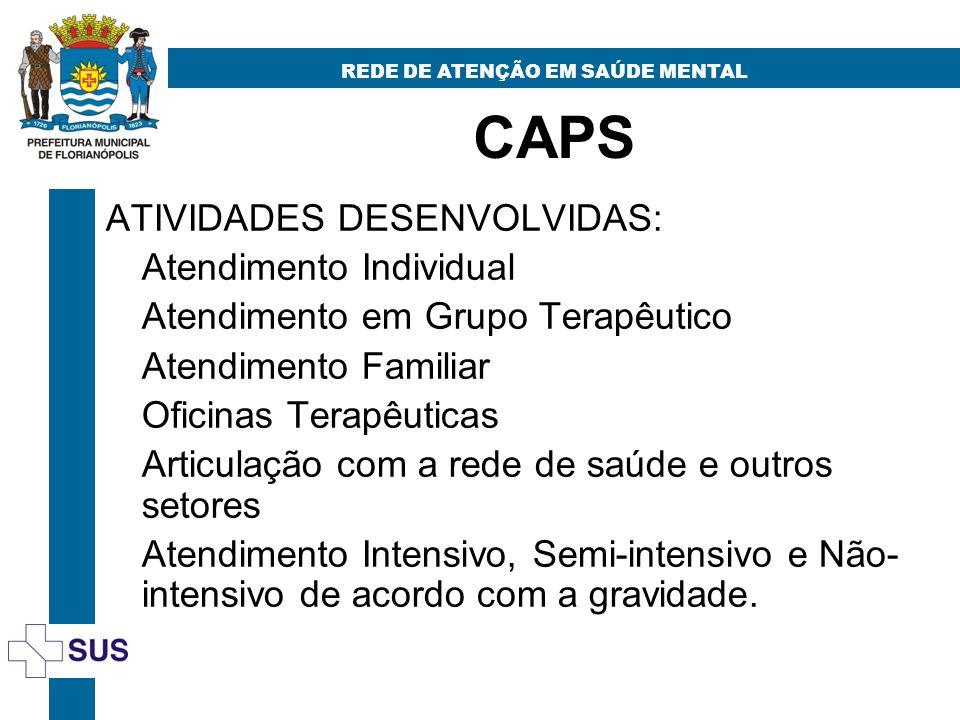CAPS REDE DE ATENÇÃO EM SAÚDE MENTAL ATIVIDADES DESENVOLVIDAS: Atendimento Individual Atendimento em Grupo Terapêutico Atendimento Familiar Oficinas T