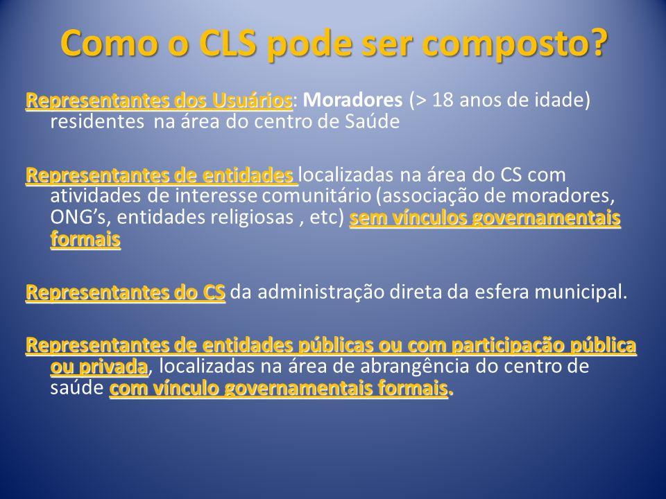 COMPOSIÇÃO: Mínimo de 8 e máximo de 16 representantes da área de abrangência.