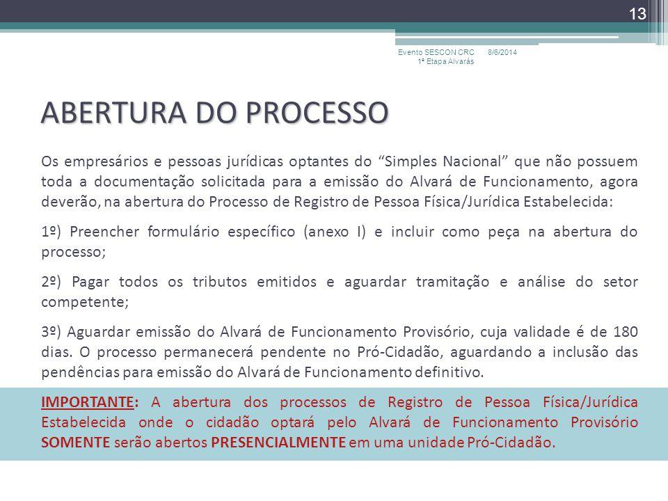 ABERTURA DO PROCESSO Os empresários e pessoas jurídicas optantes do Simples Nacional que não possuem toda a documentação solicitada para a emissão do