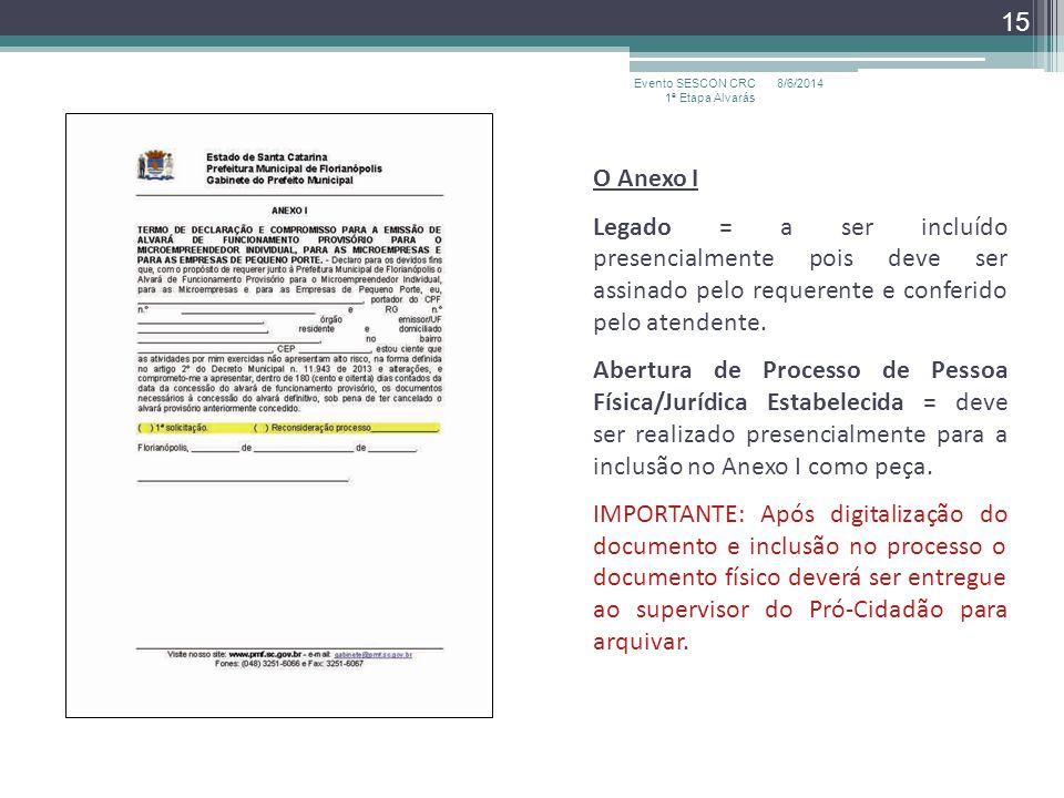 O Anexo I Legado = a ser incluído presencialmente pois deve ser assinado pelo requerente e conferido pelo atendente. Abertura de Processo de Pessoa Fí