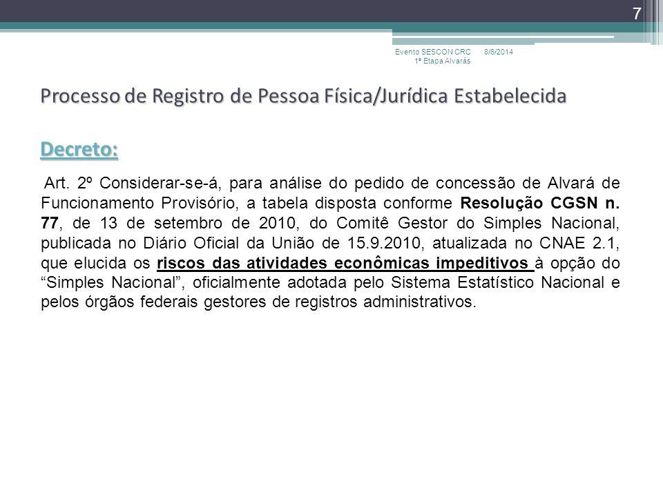 Processo de Registro de Pessoa Física/Jurídica Estabelecida Decreto: Art. 2º Considerar-se-á, para análise do pedido de concessão de Alvará de Funcion