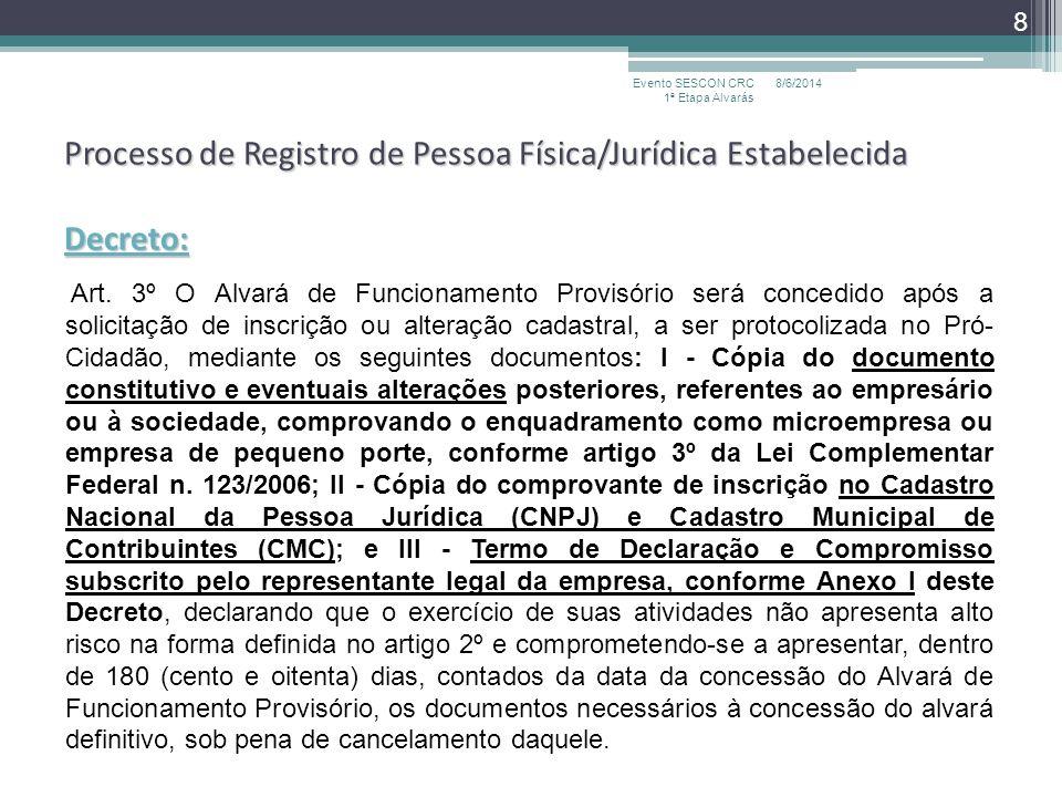 Processo de Registro de Pessoa Física/Jurídica Estabelecida Decreto: Art. 3º O Alvará de Funcionamento Provisório será concedido após a solicitação de