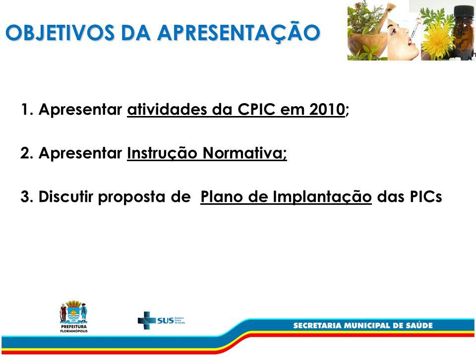 OBJETIVOS DA APRESENTAÇÃO 1.Apresentar atividades da CPIC em 2010; 2.