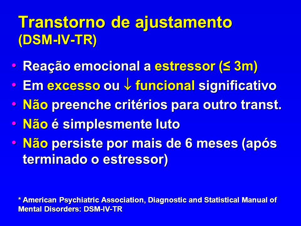 Transtorno de ajustamento (DSM-IV-TR) Reação emocional a estressor ( 3m) Reação emocional a estressor ( 3m) Em excesso ou funcional significativo Em e