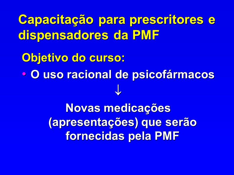 Capacitação para prescritores e dispensadores da PMF Objetivo do curso: O uso racional de psicofármacos O uso racional de psicofármacos Novas medicaçõ