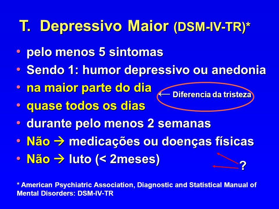 pelo menos 5 sintomas pelo menos 5 sintomas Sendo 1: humor depressivo ou anedonia Sendo 1: humor depressivo ou anedonia na maior parte do dia na maior