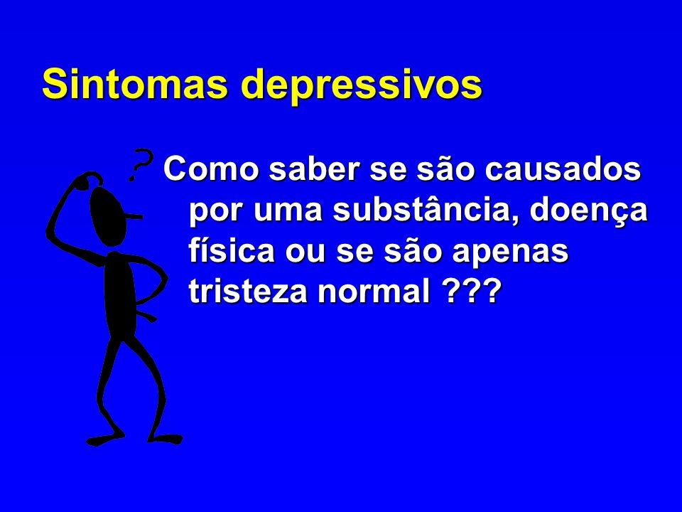 Sintomas depressivos Como saber se são causados por uma substância, doença física ou se são apenas tristeza normal ???