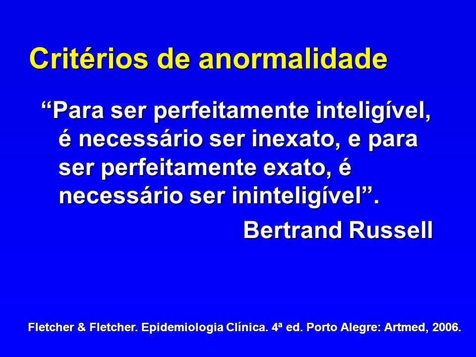 Critérios de anormalidade Para ser perfeitamente inteligível, é necessário ser inexato, e para ser perfeitamente exato, é necessário ser ininteligível