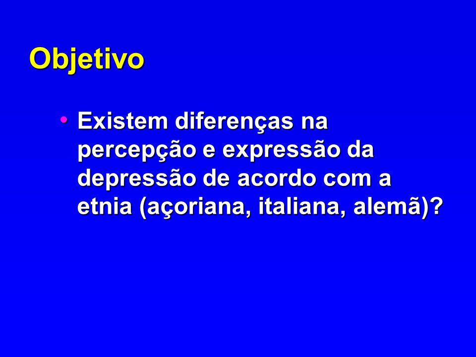 Objetivo Existem diferenças na percepção e expressão da depressão de acordo com a etnia (açoriana, italiana, alemã)? Existem diferenças na percepção e