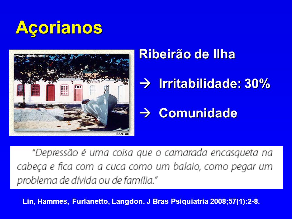 Açorianos Ribeirão de Ilha Irritabilidade: 30% Irritabilidade: 30% Comunidade Comunidade Lin, Hammes, Furlanetto, Langdon. J Bras Psiquiatria 2008;57(
