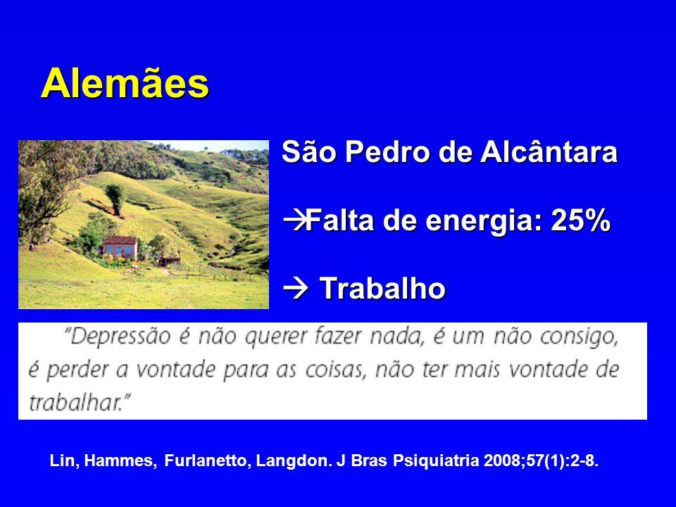 Alemães São Pedro de Alcântara Falta de energia: 25% Falta de energia: 25% Trabalho Trabalho Lin, Hammes, Furlanetto, Langdon. J Bras Psiquiatria 2008