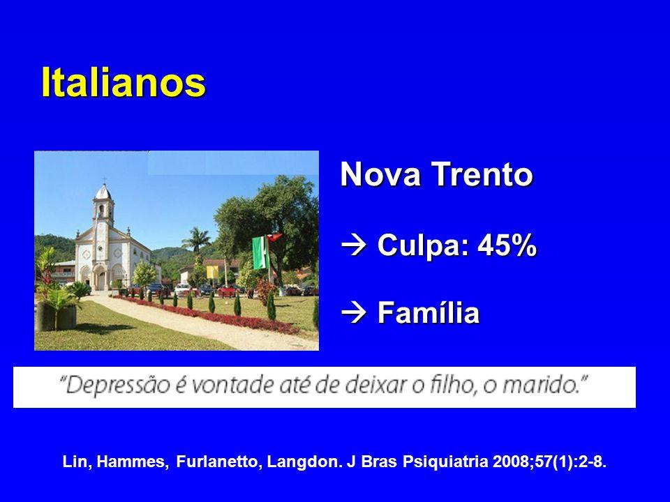 Italianos Nova Trento Culpa: 45% Culpa: 45% Família Família Lin, Hammes, Furlanetto, Langdon. J Bras Psiquiatria 2008;57(1):2-8.