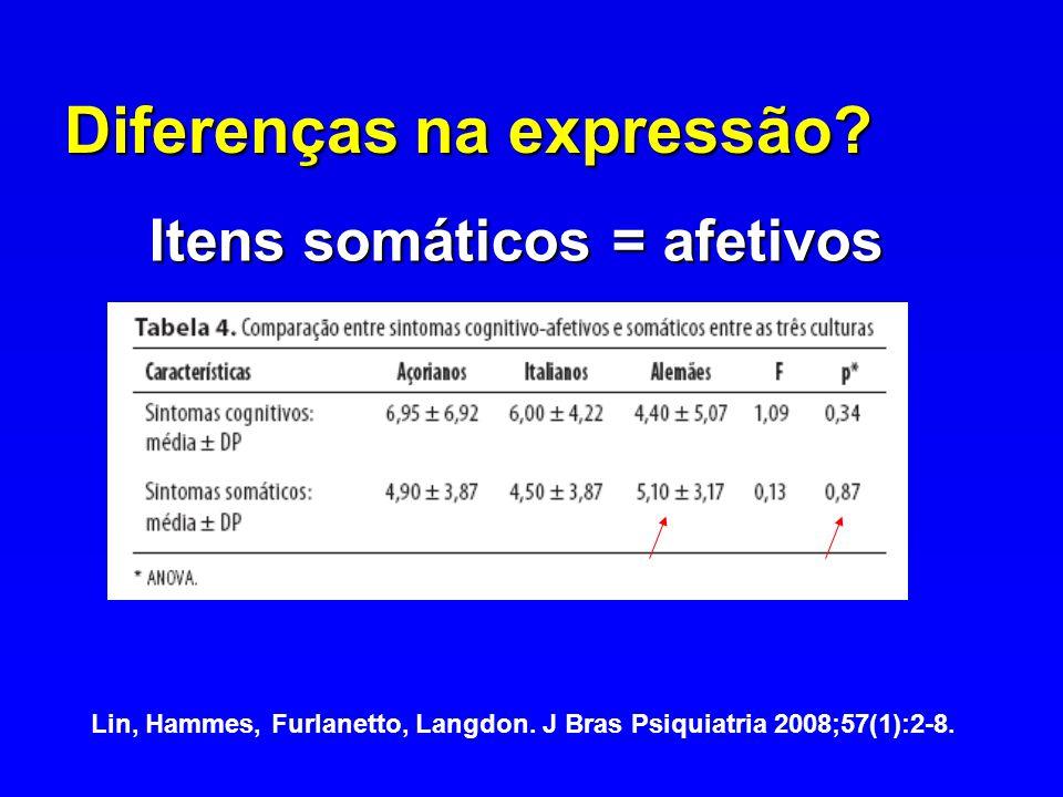 Diferenças na expressão? Itens somáticos = afetivos Lin, Hammes, Furlanetto, Langdon. J Bras Psiquiatria 2008;57(1):2-8.