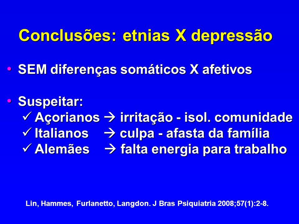 Conclusões: etnias X depressão SEM diferenças somáticos X afetivos SEM diferenças somáticos X afetivos Suspeitar: Suspeitar: Açorianos irritação - iso