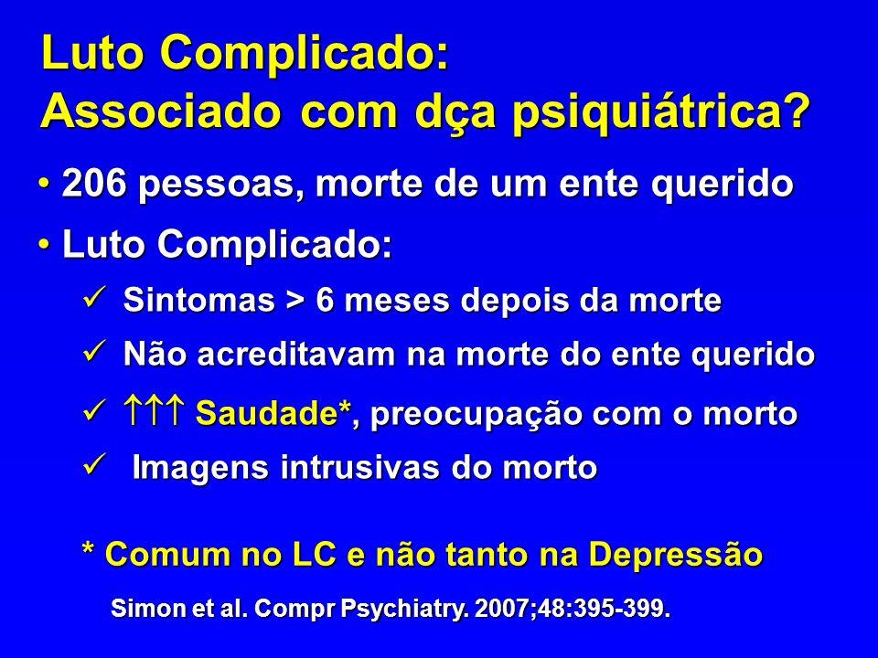 Luto Complicado: Associado com dça psiquiátrica? 206 pessoas, morte de um ente querido 206 pessoas, morte de um ente querido Luto Complicado: Luto Com