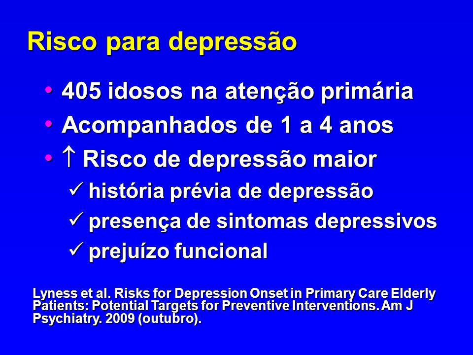 Risco para depressão 405 idosos na atenção primária 405 idosos na atenção primária Acompanhados de 1 a 4 anos Acompanhados de 1 a 4 anos Risco de depr