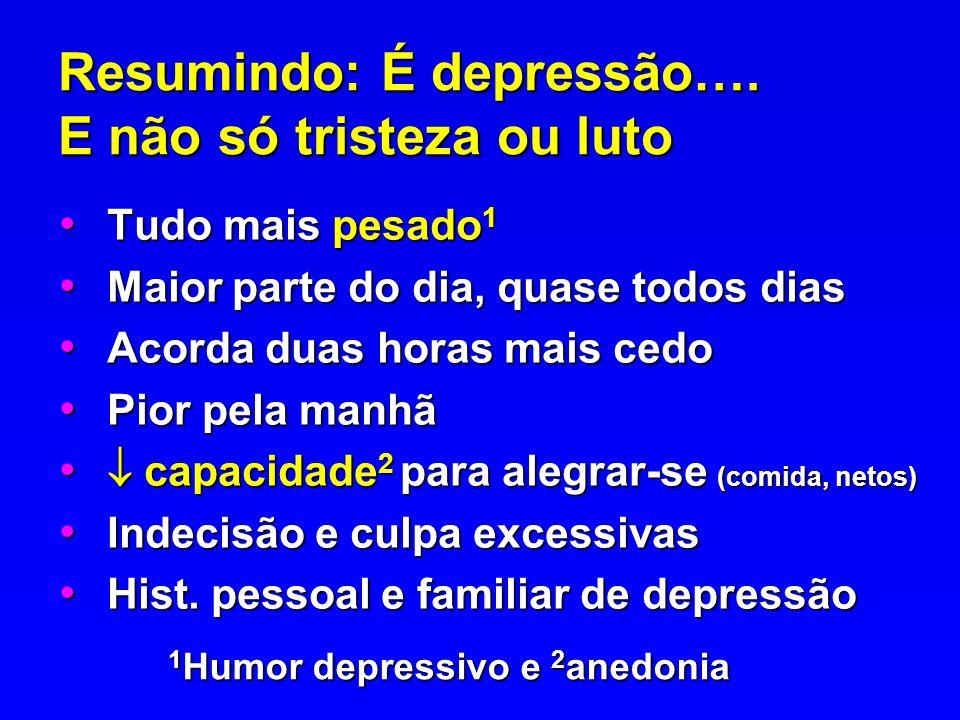Resumindo: É depressão…. E não só tristeza ou luto Tudo mais pesado 1 Tudo mais pesado 1 Maior parte do dia, quase todos dias Maior parte do dia, quas