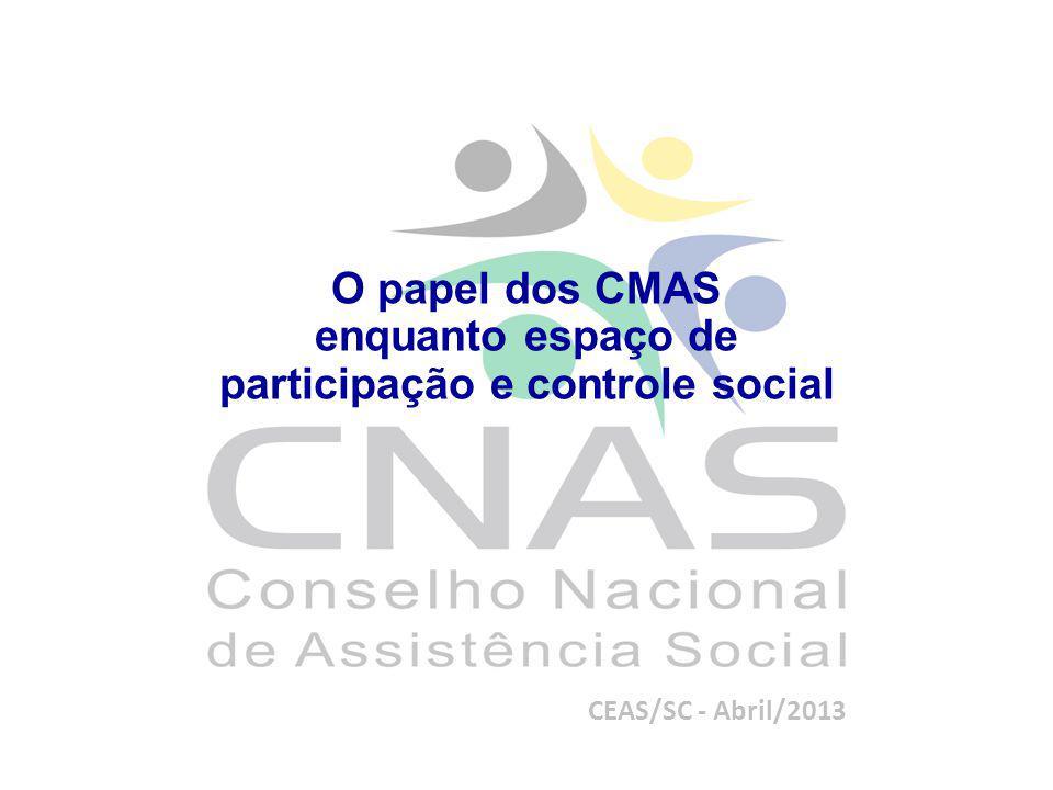 O papel dos CMAS enquanto espaço de participação e controle social CEAS/SC - Abril/2013