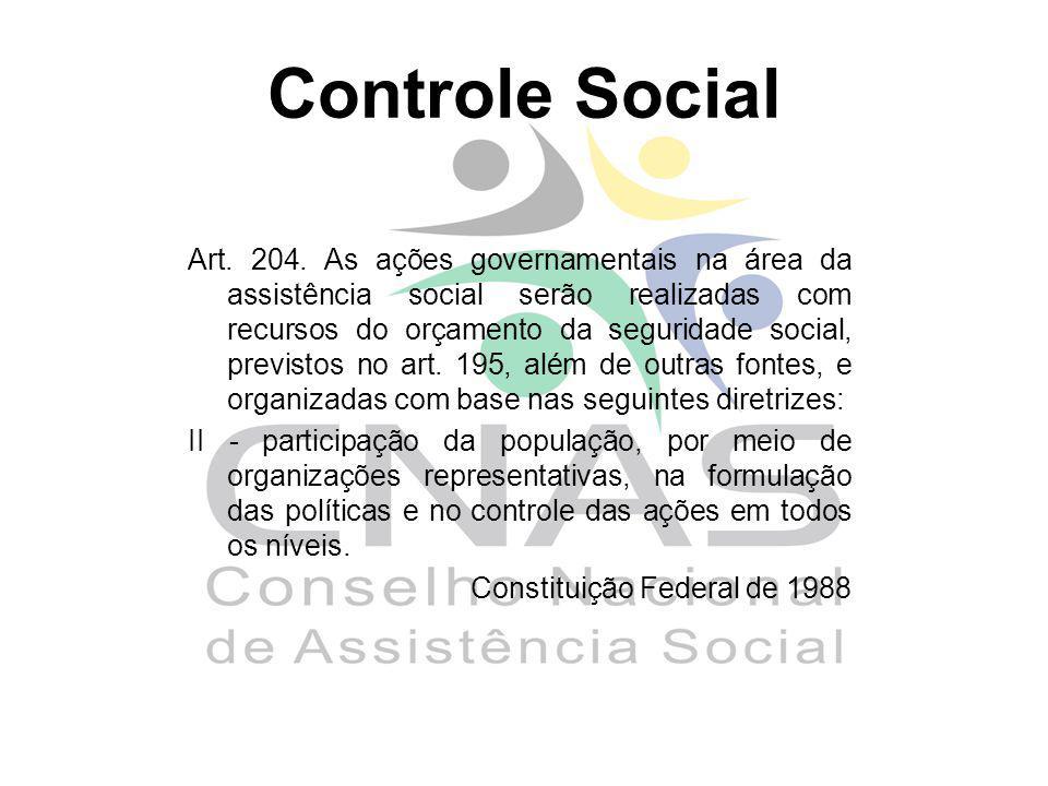 Controle Social Art. 204. As ações governamentais na área da assistência social serão realizadas com recursos do orçamento da seguridade social, previ