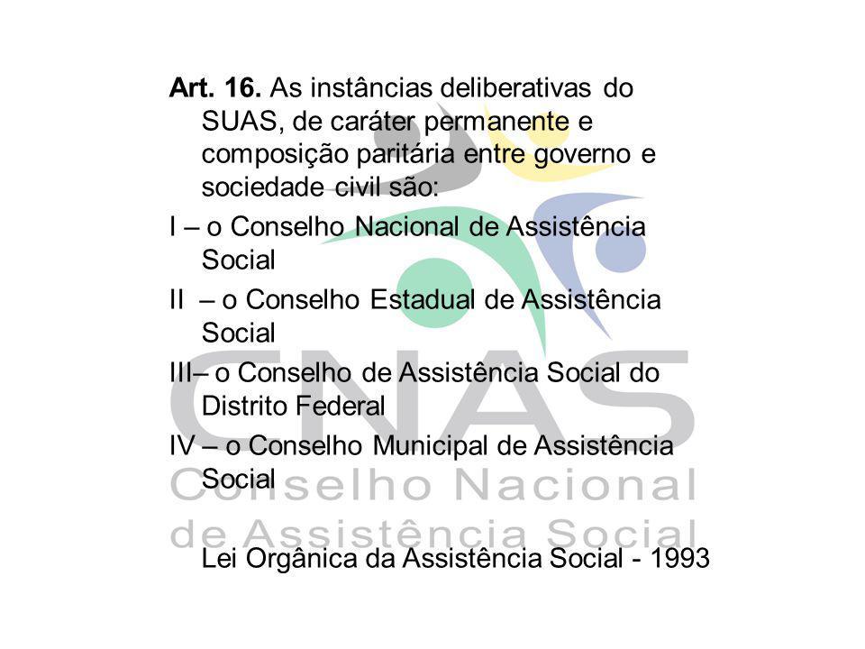 Art. 16. As instâncias deliberativas do SUAS, de caráter permanente e composição paritária entre governo e sociedade civil são: I – o Conselho Naciona