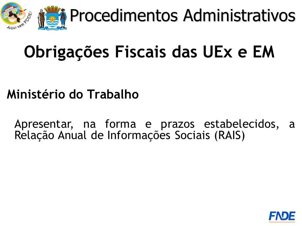 Obrigações Fiscais das UEx e EM Ministério do Trabalho Procedimentos Administrativos Apresentar, na forma e prazos estabelecidos, a Relação Anual de Informações Sociais (RAIS)