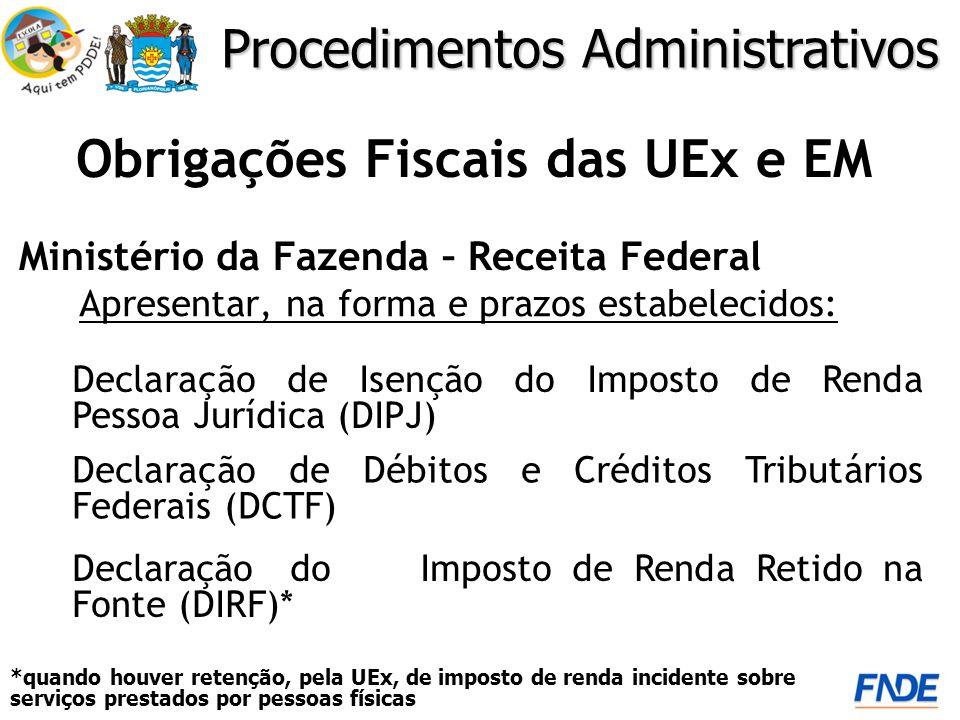 Obrigações Fiscais das UEx e EM Ministério da Fazenda – Receita Federal *quando houver retenção, pela UEx, de imposto de renda incidente sobre serviço
