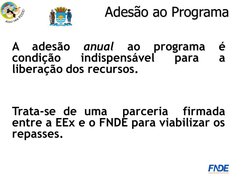 Adesão ao Programa A adesão anual ao programa é condição indispensável para a liberação dos recursos. Trata-se de uma parceria firmada entre a EEx e o
