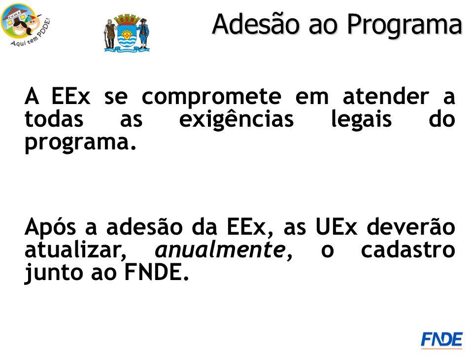 Adesão ao Programa A EEx se compromete em atender a todas as exigências legais do programa. Após a adesão da EEx, as UEx deverão atualizar, anualmente