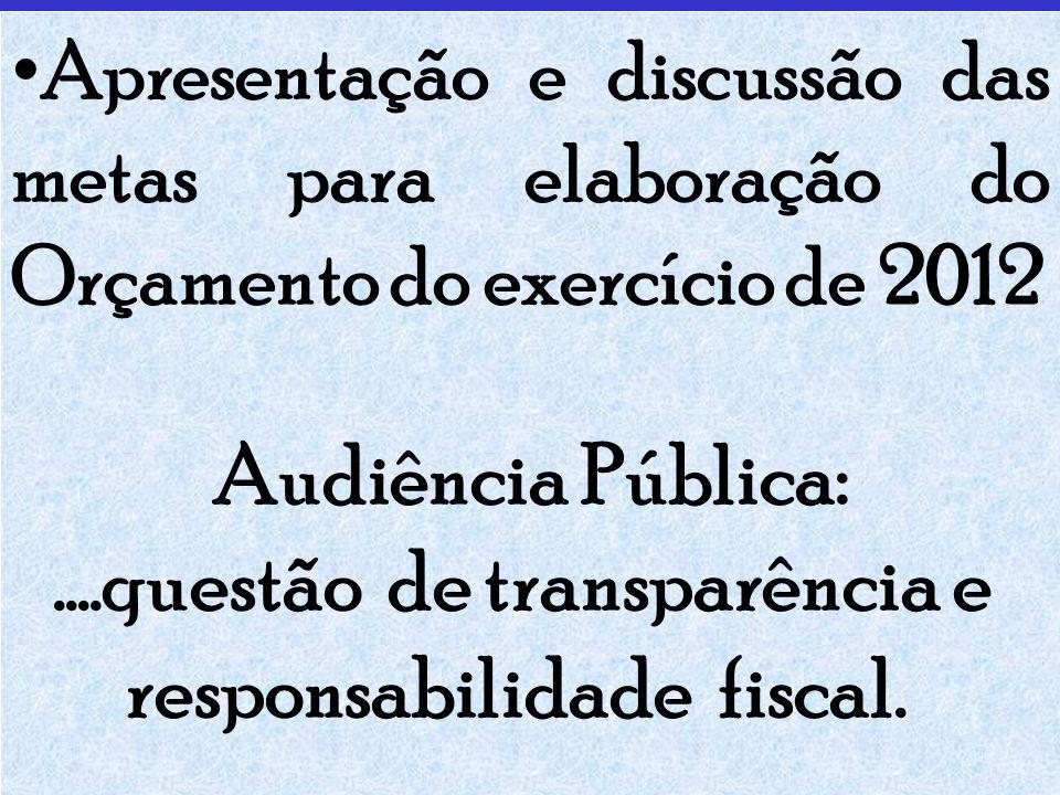 Apresentação e discussão das metas para elaboração do Orçamento do exercício de 2012 Audiência Pública:....questão de transparência e responsabilidade fiscal.