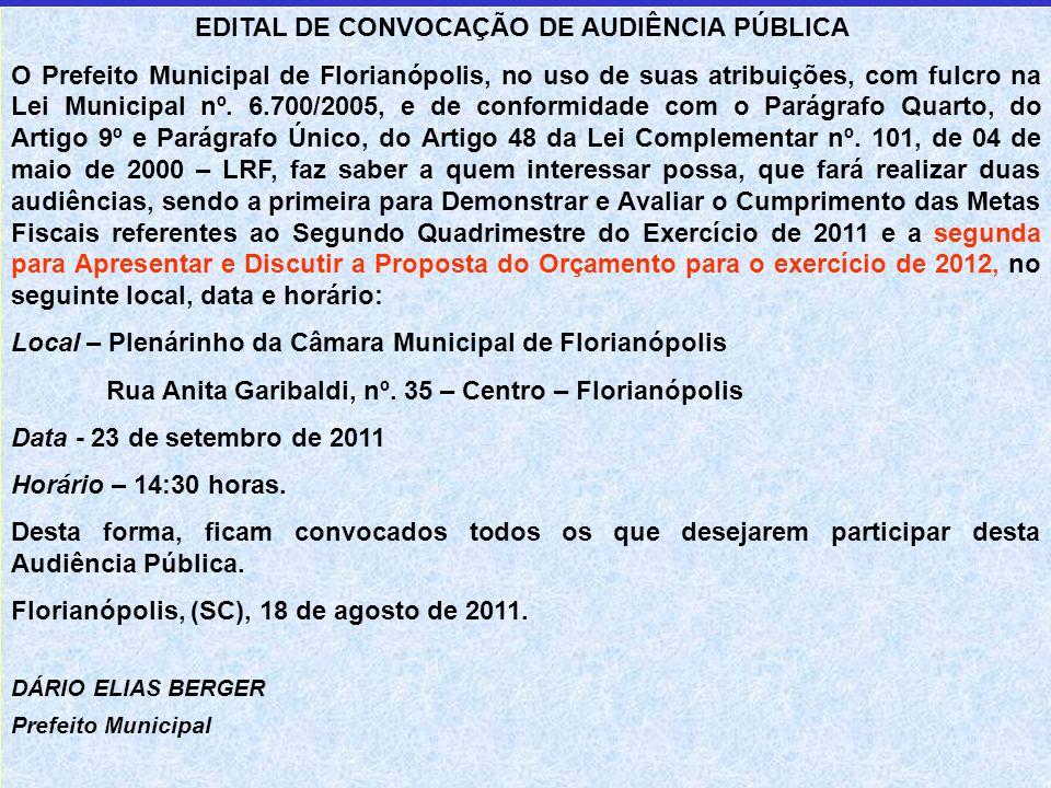 EDITAL DE CONVOCAÇÃO DE AUDIÊNCIA PÚBLICA O Prefeito Municipal de Florianópolis, no uso de suas atribuições, com fulcro na Lei Municipal nº.