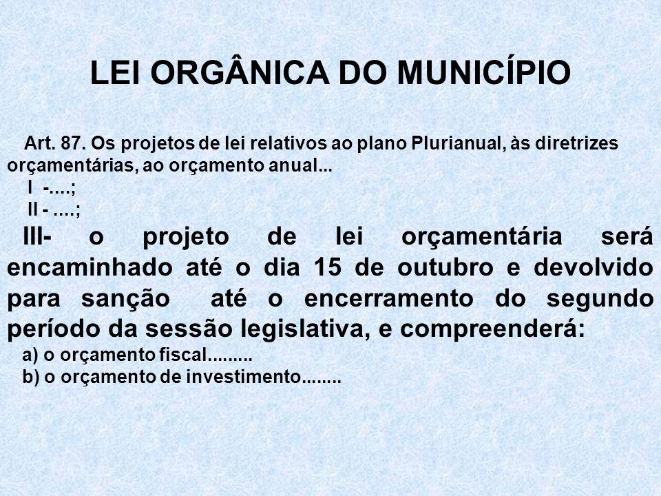 LEI ORGÂNICA DO MUNICÍPIO Art. 87.